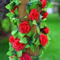 240 cm / pcs seda rosa decorações de casamento ivy videira artificial flores arco decoração com folhas verdes pendurado guirlanda de parede 100 pcs / lote decorativo