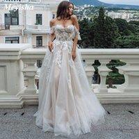 ZJ9202 2021 Sexy Sweetheart Lace A Line Brautkleider aus Schulter Sleeveless Tüllkleider für Bräute Abendkleid