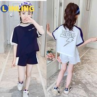 LINLING Children's Clothing Sets Cotton Girls' Shorts Suit Solid Color Letter Clothing Summer Baby Football Outfit Kids V848 A0511