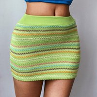 Skirts DEWADBOW Summer Women Mini Skirt Elastic Band High Waist Rainbow Color Striped Cable Knitted Sexy Office Lady Short