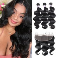 2021 Brazilian Body Wave 3 4 PCS with Lace Frontal Peruvian Loose Deep Kinky Curly Human Hair Bundles with Closure Straight Water for Women