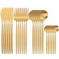 Dinnerware Sets 24 Pcs Stainless Steel Cutlery Set Matte Tableware Golden Spoon Fork Knife Dinner Kitchen
