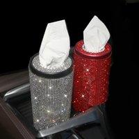 Creative Bling Crows Crystal Diamond Fingue Box Diamante Бумажный полотенце Tube Home Office Car Rhinestone Пасштабная бумага коробка для девочек Женщины 210326