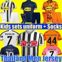 2020 2021 2022 Versión del jugador camiseta de fútbol de la juventus RONALDO DYBALA MORATA Camiseta de fútbol de CHIESA McKENNIE 20 21 22 JUVE Men + Kids kit cuarto 4th sets jersey