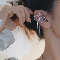 Koreanische Bowknot Rhinestone Quaste Ohrclips für Frauen glänzende Ohrringe ohne Piercing-Schmuckgeschenke