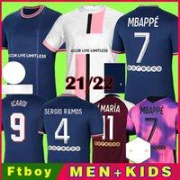 PSG Camiseta de fútbol 20 21 paris saint germain camisetas 2021 2022 SERGIO RAMOS MBAPPE NEYMAR JR ICARDI hombres + kit de niños maillot de foot 4th de la soccer jerseys chandal