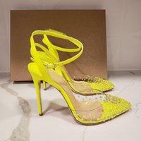 Casual Designer Sexy Dame Mode Damesschoenen Neon Geel Crystal Strass Strappy Enkle Wrap Pointy Teen Stiletto Stripper Hoge Hakken Pumps Bruid Wedding Maat 44