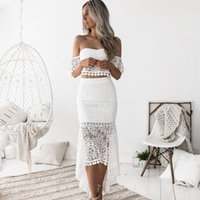 Two Piece Dress 2021 Women's Suit Off-shoulder Top + Bag Hip Skirt Sexy Wrapped Chest Backless A-line Pieces
