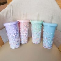 Mugs Summer Cold Drink Juice Portable Plastic Cup Rainbow Bubble Straw Girl Heart Ins High-value Student Water With Lid
