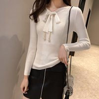 2021 new early autumn T-shirt women's autumn winter long sleeve slim fit sweater bow tie bottom blouse