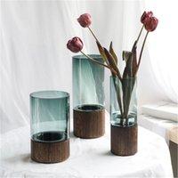 Clear Vaso Vaso Desktop Desktop Flower Garrafa de Água Crescer Cesta Destacável Base de Madeira Arranjo Pot Nordic Decor Vasos
