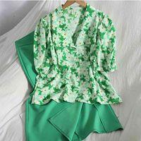 Two Piece Dress Korean Style Chic Elegant Chiffon 2 Sets Womens Outfits Bubble Short Sleeve Floral Shirt Blouse + Split Long Skirt