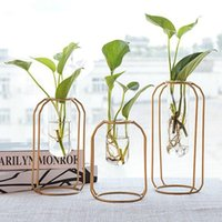 Vases Hydroponic Plant Flower Vase Tabletop Coffee Shop Office Home Decoration Accessories ModernCreative Nordic Iron Glass