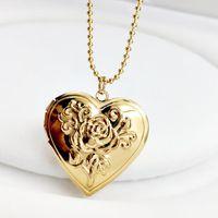 Уникальный резной дизайн сердца в форме сердца Po кадр кулон ожерелье шарм открывается медальон ожерелья женщин мужчины Мемориальные ювелирные изделия хокеры