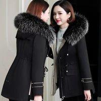 Style Overcomes Designer Korean Version Real Raccoon Dog Fur Collar Rex Rabbit Liner Medium Length Detachable ALZU