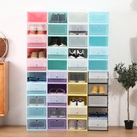Stackable shoe storage box color thickened flip cover transparent drawer plastic