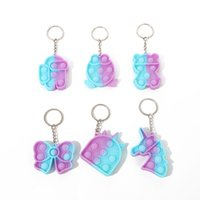 Push it Fidget Toys keychain pendant, gradient color finger bubble music silicone Decompression Toy