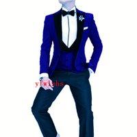 Custom-made One Button Groomsmen Peak Lapel Groom Tuxedos Men Suits Wedding Prom Dinner Man Blazer(Jacket+Pants+Tie+Vest) W880