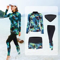 One-Piece Suits Long Sleeve Rash Guard Women Printed 5 Pieces Swimsuit Swimwear Bathing Suit Surfing Paded Pant Couples Men Beach Green