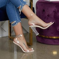 Dress Shoes Clear Heels Sandals Women PVC Transparent Summer Woman Suede Ankle Strappy Sandalias Mujer 2021 RB68