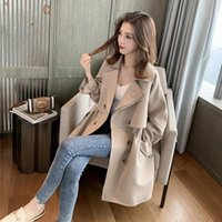 Women's Trench Coats Coat Long Spring And Autumn Korean Version Of Loose Suit Collar Casual Fashion Thin