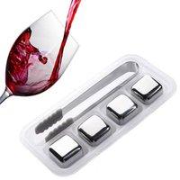 Edelstahl-Eiswürfelkühler wiederverwendbare kühlende Steine für Whiskywein, halten Sie Ihr Getränk kalt länger HHF8870