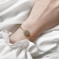 Charm Bracelets Fashion Bracelet With Green Natural Stone Retro Jewelry Golden Chain For Women Lucky Valentine's Day Anniversary Gifts