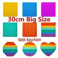 30cm !Super Big Size Fidget Toys Push It Rainbow Square Antistress Toy Bubble Figet Sensory Squishy Jouet Pour Autiste For Adult Kids Gift 49666