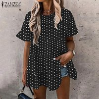 Women's Blouses & Shirts Baggy Printed Tops Summer Ladies Fashion Blouse ZANZEA Party O Neck Shirt Polka Dots Casual Woman Short Sleeve Blus