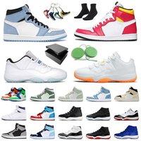 상자 포함 Air Jordan Retro 1 Mocha Jordans 신발 Jumpman 11 Citrus Low 남성 여성 농구화 Fearless 1s Mid University Blue Concord High 45 25th 11s Space Jam UNC 트레이너 스니커즈