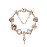 الأصلي باندوراس 925 الفضة روز الذهب كريستال قفل قلادة سوار diy الخرز سحر السلامة سلسلة أساور مجوهرات عطلة هدية