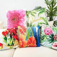 45 * 45 cm Moda Vida de la flor Funda de almohada decorativa Rectángulo Caja de almohada Caja de algodón de lino Cubierta de cojín para sofá Cojín / decorativo