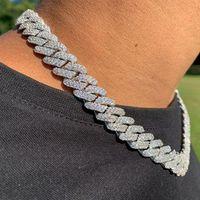 14mm Cuban Cuban Link Collar de cadena de punta 14k Plateado de oro blanco 2 fila Diamante Cubic Zirconia Joyería 16 pulgadas-24 pulgadas