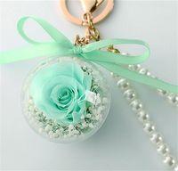 Fiore di rosa conservato in acrilico a sfera a sfera con la catena chiave immortale fiore nappa regalo romantico San Valentino compleanno1 1386 T2