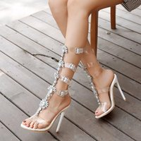 Dress Shoes Summer Crystal Flower Stiletto High-heeled Large Size Sexy Transparent Sandals Banquet All-match Rhinestone Female