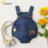 Jumpsuits Ma&Baby0-18M Spring Summer Born Infant Baby Boy Girl Denim Romper Sleeveless Rainbow Jumpsuit Overalls Costumes