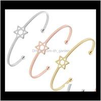 Hollow Pentagram Bracelet Opening Rose Gold Bracelet Six-Pointed Star Women Wild Temperament Fashion Bracelet Alqmx Nipzk
