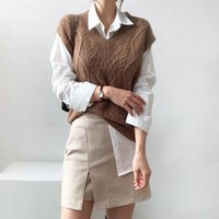 Simple Solid Twist Knitted Sweater Vests +chic All-match Basic Shirts for Ladies PU Mini Skirt New Autumn Set