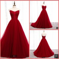 2021 Real Photo wine tulle a line prom dresses strapless sweetheart neckline court train elegant party gowns sweet 16 glamorous long evening dress custom made