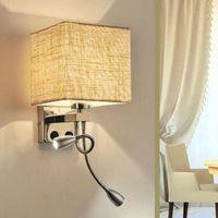 Lukloy Современная простая Sconce LED настенная лампа ткани веранда балкона Light EL гостиная освещение спальни проход лестницы