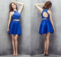 Short Homecoming Dresses Two Pieces Royal Blue Dress Prom Party Gowns High Neck Sleeveless Open Back Zipper Satin Sweety 2021