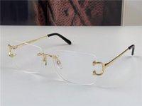 팔리지 않는 렌즈 판매 렌즈 프레임리스 18K 프레임 골드 도금 된 울트라 - 라이트 스퀘어 림없는 광학 안경 남성 비즈니스 스타일 안경 최고 품질 0104