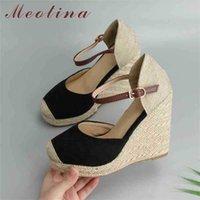 Meotina Femmes Sandals Sandales Summer Shoes Plateforme Croîchements Talon Chaussure Bohême Bohême Espadrille Rouge Grande taille 34-43 210619