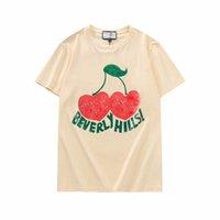 2021S Beverly Hills Cherry Designer T-shirt Hombres moda ropa de manga corta mujer punk letra letra bordado gato verano monopatín tops piña Casual tees