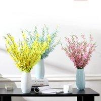 Flores decorativas grinaldas 5 garfo artificial amarelo dançando vaso de orquídea phalaenopsis buquet seda natal para casamento decoração de casa