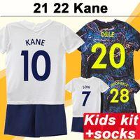 21 22 Kane Dele Lucas Kid Kit Soccer Jerseys Davies Bergwijn Lo Celso Son Home White Away
