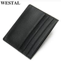 Card Holders WESTAL Genuine Leather Case Men Thin Wallet Business ID S Holder Male Cards Pack Cash Pocket Cardholder 113
