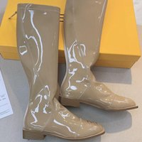 Boots High Quality Luxury Designer Brand Winter Over The Knee Women Long Sheepskin Patent Leather Zipper Fashion Street
