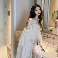 Casual Dresses Women Summer One Shoulder Diamond Mesh Suspender Feminine Medium Length Skirt Vestido De Mujer Femme Robe