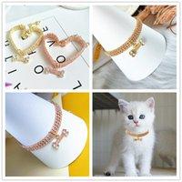 Collier de chien de chat Diamond Toute la saison Gold Pink Animaux Chaînes Jolies Colliers de pendentif osseux pour Chihuahua Bichon Teddy Alaska Bulldog 287 S2